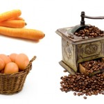 Oeufs, carottes et grains de café