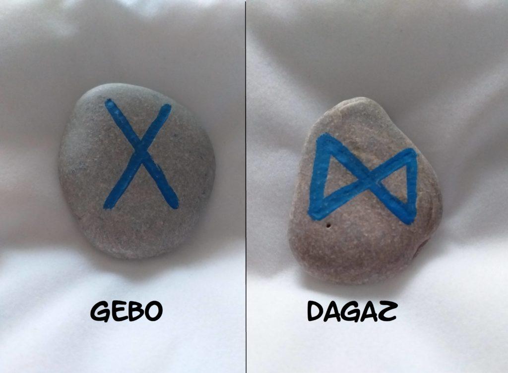 dagaz, gebo, pleine lune